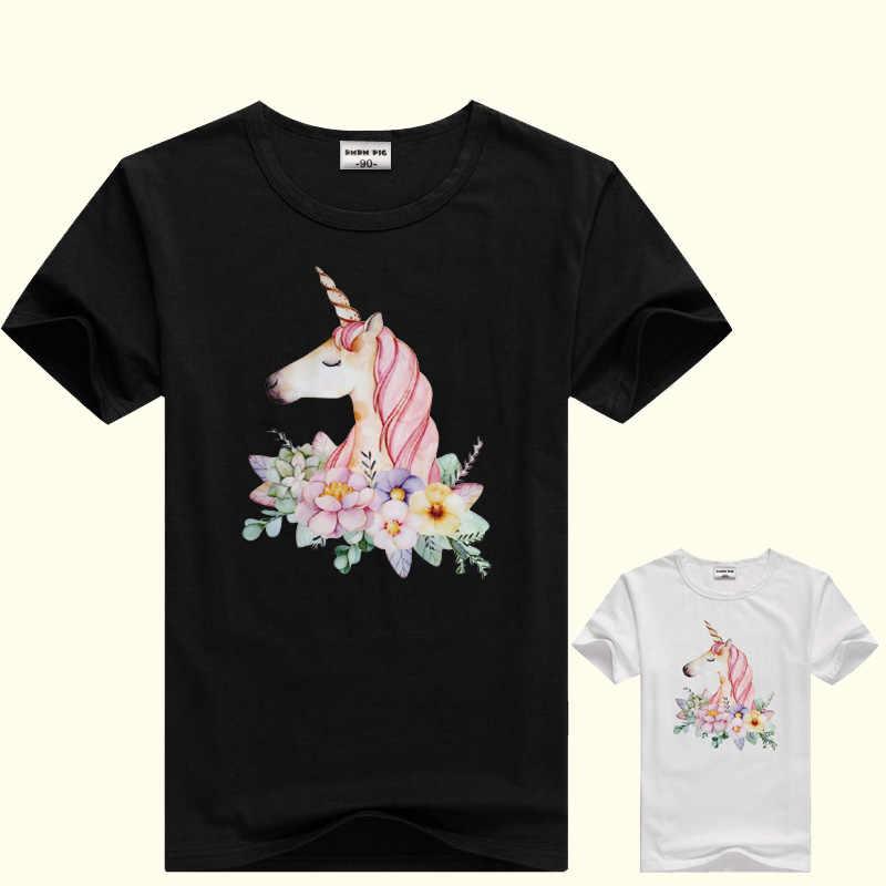 DMDM PIG/футболки с короткими рукавами для мальчиков, футболки для маленьких девочек, одежда для подростков, футболка с единорогом, Детская летняя футболка, Топы, Размер 5