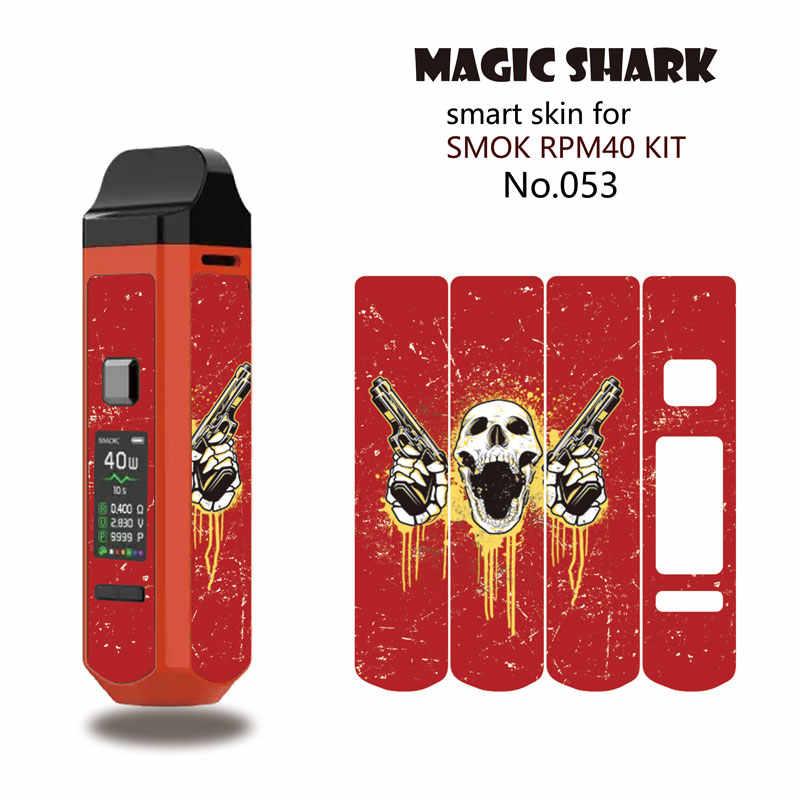 ماجيك القرش 2.5D الحديد رجل الدولار روز الجمجمة الخشب طباعة Vape قرنة ستيريو حالة غطاء شريط لاصق ل Smok RPM40