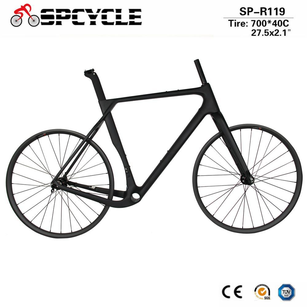 Spcycle Aero Full Carbon Gravel Bike Cyclocross Bicycle Frameset With 27.5er MTB Wheelset Or 700C Disc Brake Road Wheelset