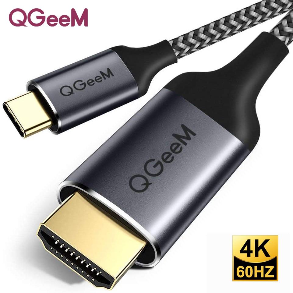 QGeeM USB C HDMI kablosu 4K tipi C HDMI Thunderbolt 3 dönüştürücü MacBook için Huawei Mate 30 USB-C HDMI adaptörü USB tipi C HDMI