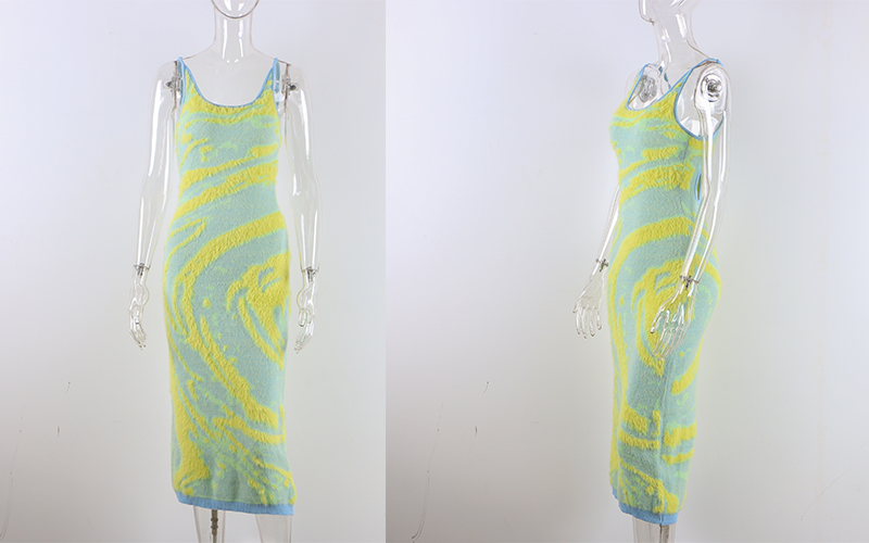 Print Knit Bodycon Dress Women Summer Hollow Out Sexy Sleeveless Spaghetti Strap Beach Midi - dresses