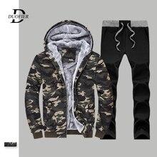 Degli Uomini caldi del Camuffamento Set Giubbotti + Pants Uomo Felpe Allaperto Vestito di Inverno degli uomini di Spessore di Palestre casual Tuta Abbigliamento Sportivo Jogging