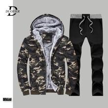 Ensemble de Camouflage pour hommes, veste + pantalon à capuche masculin, combinaison dextérieur épaisse hiver, gymnases, vêtements de sport, collection survêtement de sport