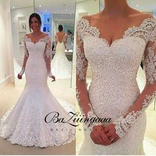 Wedding-Dress Lace Church Bride Mermaid Floral-Print Elegant Full Europe-Americas Suitable-For
