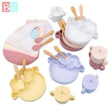 5PCS Baby Feeding Bowl Set Sheep Shaped Food Grade Silicone Plate Suction Bowl baby Feeding BPA Free Infant Waterproof Tableware