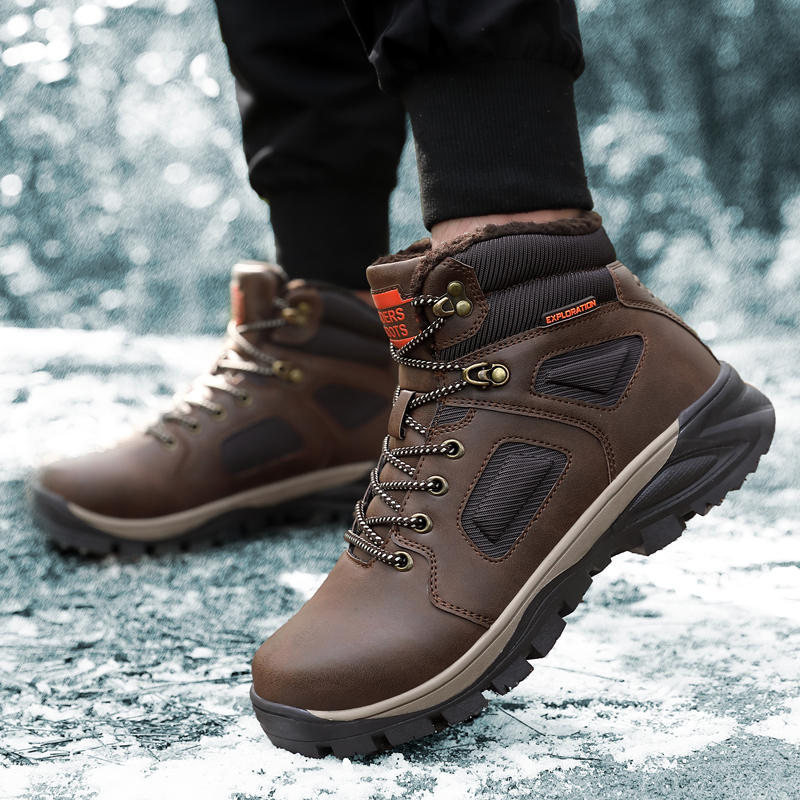 Fashion Men Winter Snow Boots Keep Warm Boots Plush Ankle Boot Snow Work Shoes Casual Men's Snow Boots Size 40 46 - 4