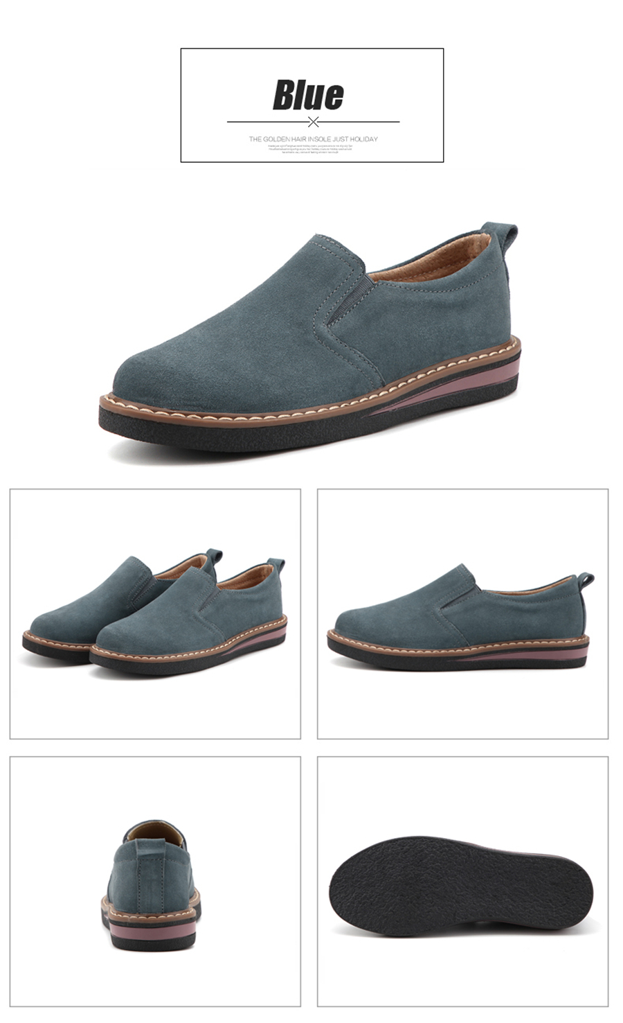 STS BRAND 2019 New Spring Women Flats Sneakers Suede Leather Round Toe Shoes Casual Shoes Women Slip On Flat Loafers Fazz Oxford (17)