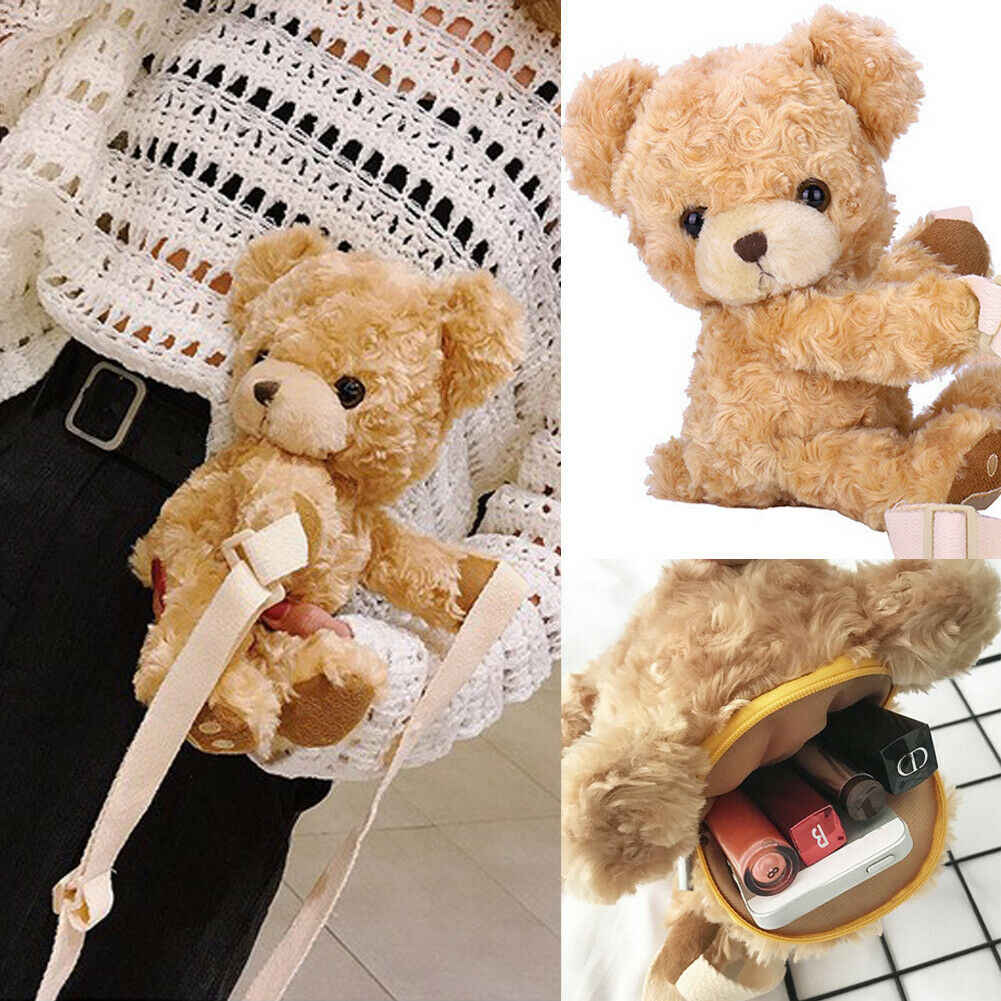 Faux FUR หัวหมีกระเป๋าสตางค์น่ารักการ์ตูนหญิงกระเป๋าถือ Fluffy Teddy กระเป๋าสะพาย