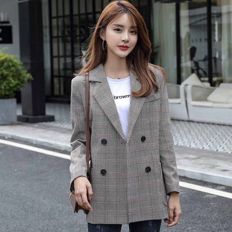 Women's blazer jacket Fashionable Double-Breasted Plaid Long Sleeve Coat 2019 new autumn women's clothing