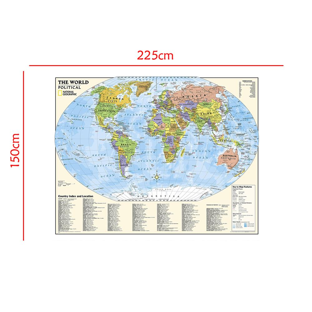 The World Physical Non-woven Map With Country Index And Location And The Key To Map Feature For Culture And Education 150x225cm