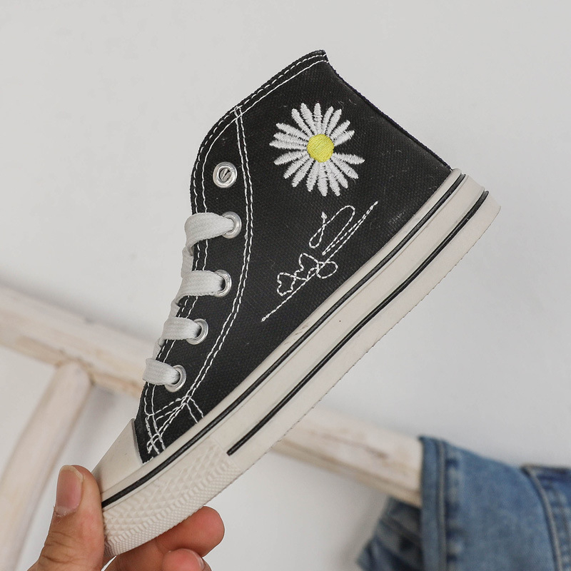 KushyShoo 2020 Spring New Children Shoes Embroidery Daisy Kids Canvas Shoes Retro High-top Girls Sneakers Toddler Boy Shoes