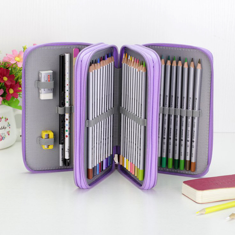36/48/72 Holes Oxford School Pencil Case Kawaii Penalty Pencilcase Large Pen Bag Box Multi Kids Multifunction Stationery Pouch