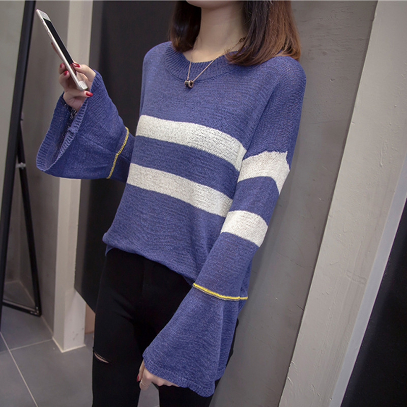 2019 Early Autumn Loose-Fit Sweater Women's Pullover Thin Korean-style Loose-Fit Bell Sleeve Striped Shirt A Generation Of Fat
