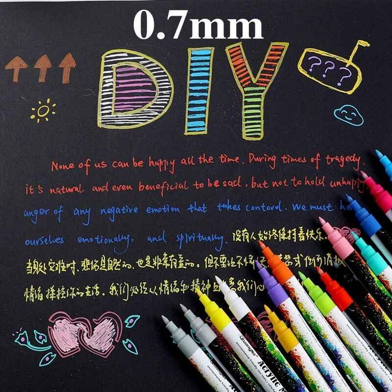 36 colores/juego de rotuladores de pintura acrílica de 2mm para cerámica de vidrio de roca taza de porcelana pintura de lienzo de tela de madera