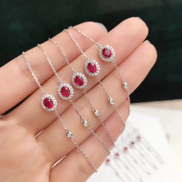AEAW Solid 18K White Gold 0.3ct Oval Cut Natural Ruby with Natural Real Diamond Bracelet Test Positive For Women Fine Jewelry