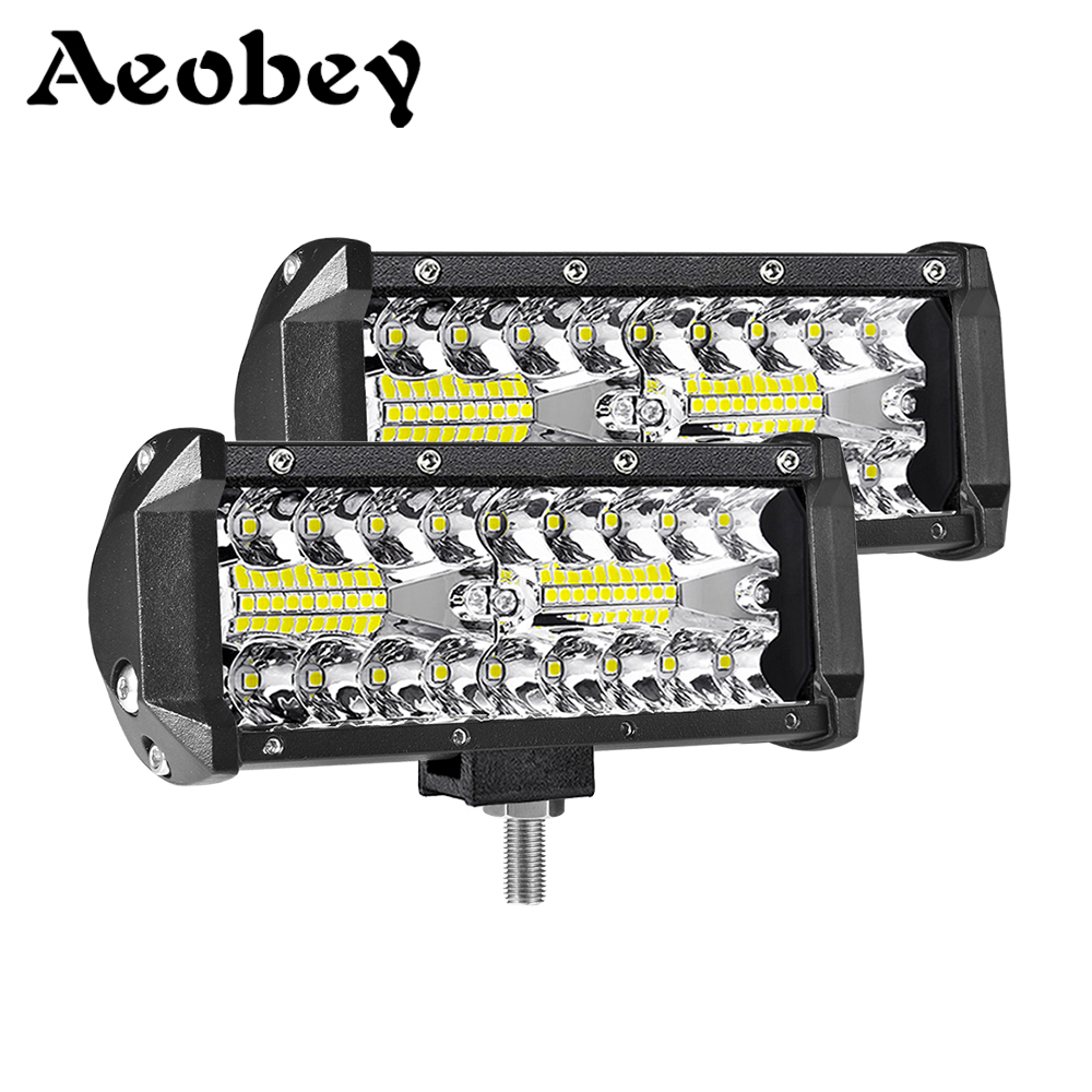 2pcs 7inch 120W Offroad Led Light Bar For Cars Combo Beams Off Road SUV ATV Tractor Boat Trucks Excavator 12V 24V Work Lights