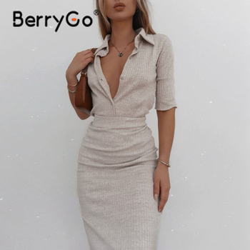 BerryGo Casual button autumn knitted dress sets women Office lady sheath lapel dress suits Fashion short sleeve two piece sets 1