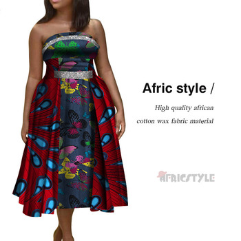 African Style Elegant Party Sexy Vintage Women Long Dresses Big Size One Shoulder Strapless African Print Dresses WY5253