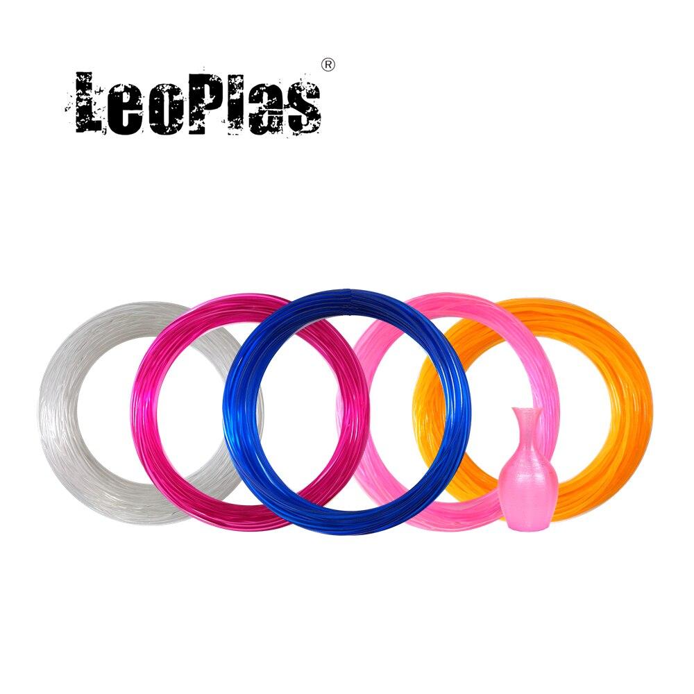 LeoPlas 1,75 мм 10 и 20 метров Гибкая мягкая прозрачная нить из ТПУ для 3D-принтера, принадлежности для печати, резиновый материал
