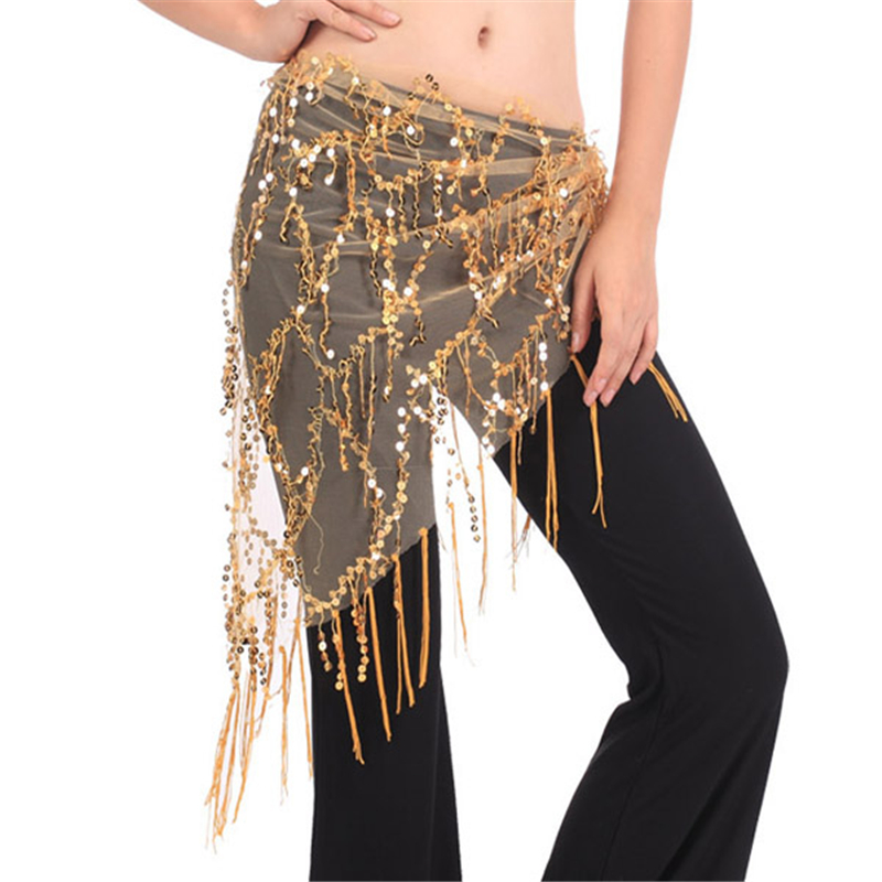 New Belly Dance Costume Hip Scarfs Tribal Triangle Tassel Belt Gold Sequins Dancing 7644