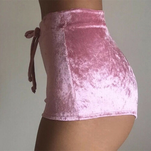 Fashion Pretty Little Thing Womens Ladies Pink Crushed Velvet Runner Fashion Short Hot Casual Women Skinny Drawstring Shorts