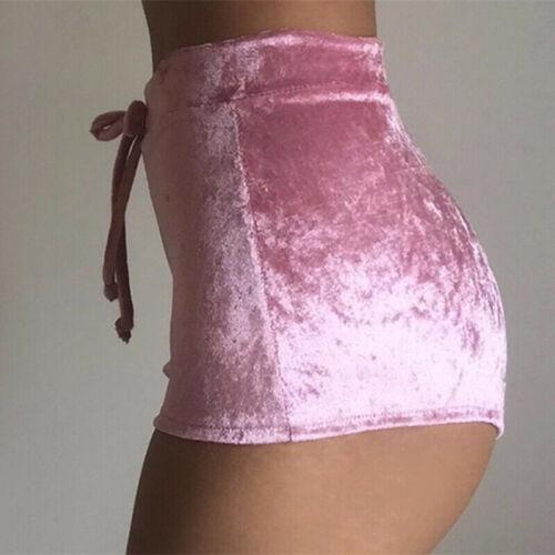 Fashion Pretty Little Thing Womens Ladies Pink Crushed Velvet Runner Fashion Short Hot Casual Women Skinny Drawstring Shorts