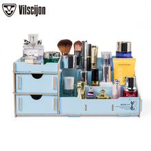 Cosmetic Organizer DIY Desk Stationery Holder Desktop Multifunction Office Storage Box School Vilscijon D9122