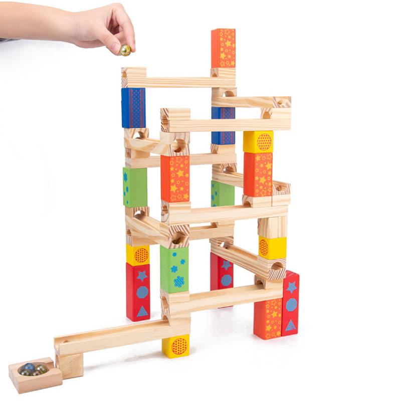 52PC Wooden Marble Track Blocks Children's Educational Assembled DIY Building Blocks Pipe Ball Toy Kids Gifts