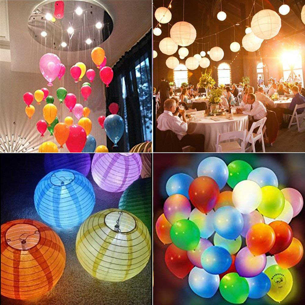 20 pcs ไฟ LED กันน้ำ LED ปาร์ตี้ไฟแสงสว่างตามฤดูกาลสำหรับบอลลูนโคมไฟกระดาษบอลลูนงานแต่งงานฮาโลวีน Christmas Party