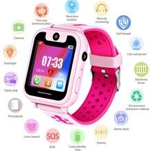 S6 어린이 스마트 시계 어린이 SOS 전화 위치 찾기 로케이터 추적기 카메라 게임 HD 1.44 인치 화면 Smartwatch