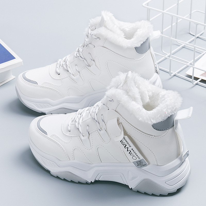 SWONCO Thick Fur Winter Shoes Women Sneakers High Top 2019 Female Causal Shoes Snowboots Warm Winter Shoes Chunky Sneakers Black