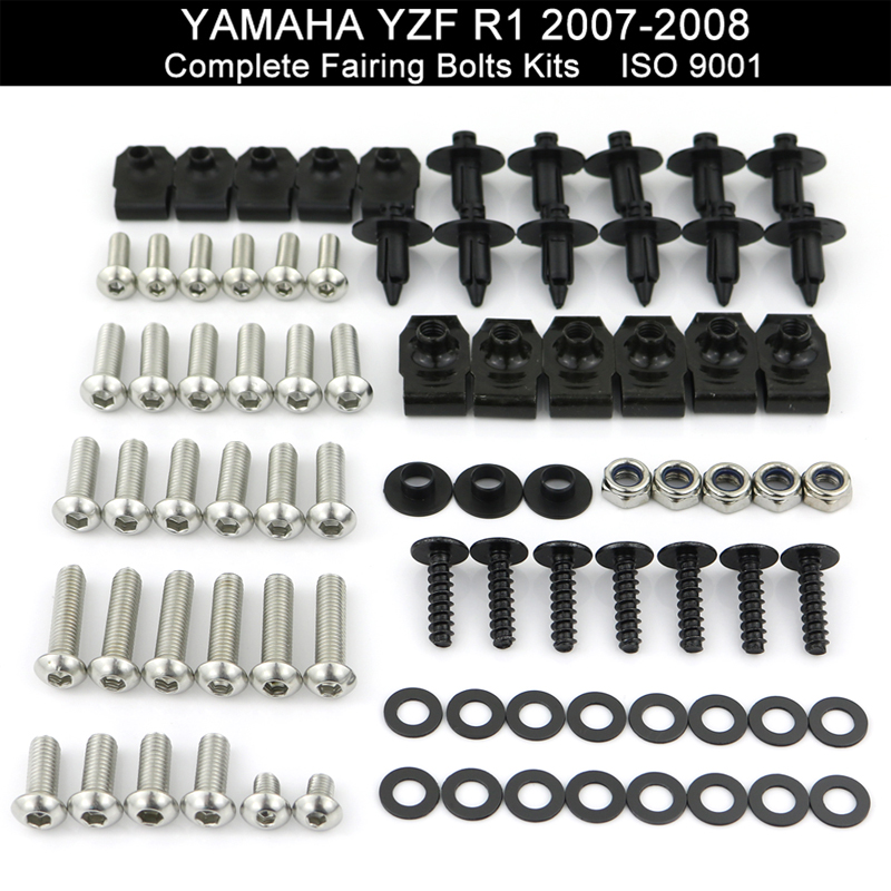 For Yamaha YZFR1 YZF-R1 2007 2008 Motorcycle Complete Full Fairing Bolts Kit Fairing Clips Speed Nuts Stainless Steel
