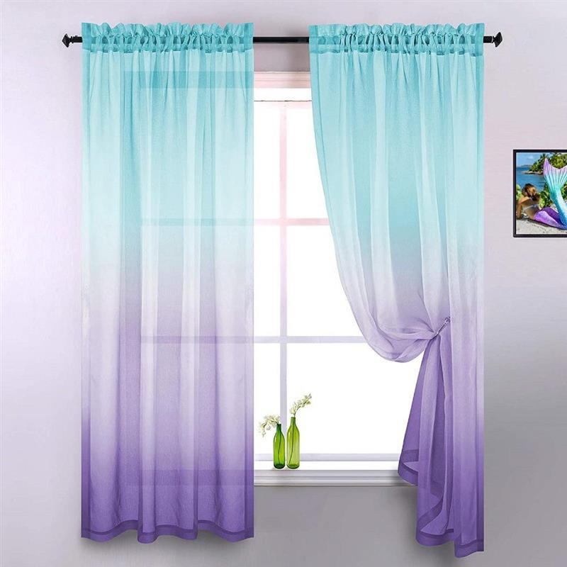Gradient Curtains Semi Sheers Curtains Window Curtains for Bedroom and Living Room Party Backdrop