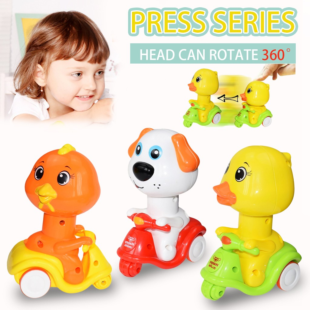 Mini Vehicle Press-type Small Yellow Ducks Animal Motorcycle Pull Back Toy Winding cartoon motorcycle small yellow duck animal