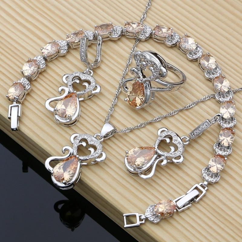Monkey 925 Silver Bridal Jewelry Champagne Zircon Sets For Women Earrings Birthday Gifts