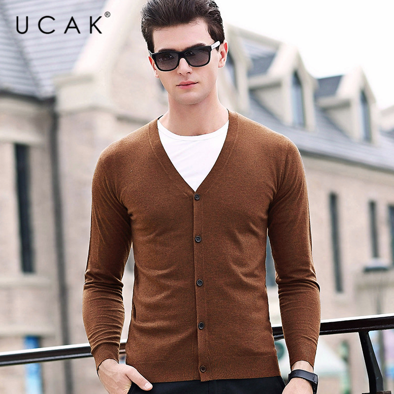 UCAK Brand Cardigan Men 2020 Autumn Winter Soft Warm Cashmere Wool Sweater Men Pure Color Classic Casual V-Neck Cardigans U1050