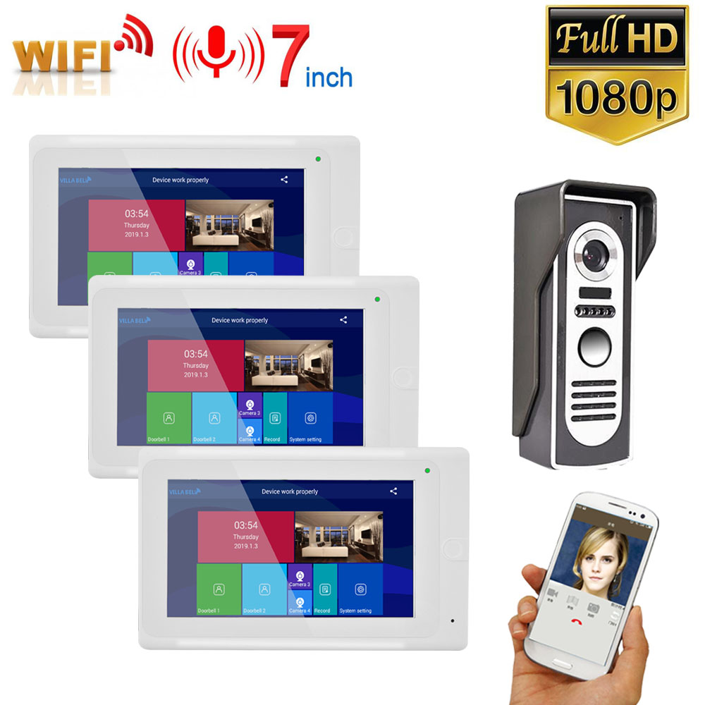 GAMWTER 7 Inch 3 Monitors  Wireless WIFI Video Door Phone Doorbell Intercom Entry System With Wired HD 1080P Wired Camera Night
