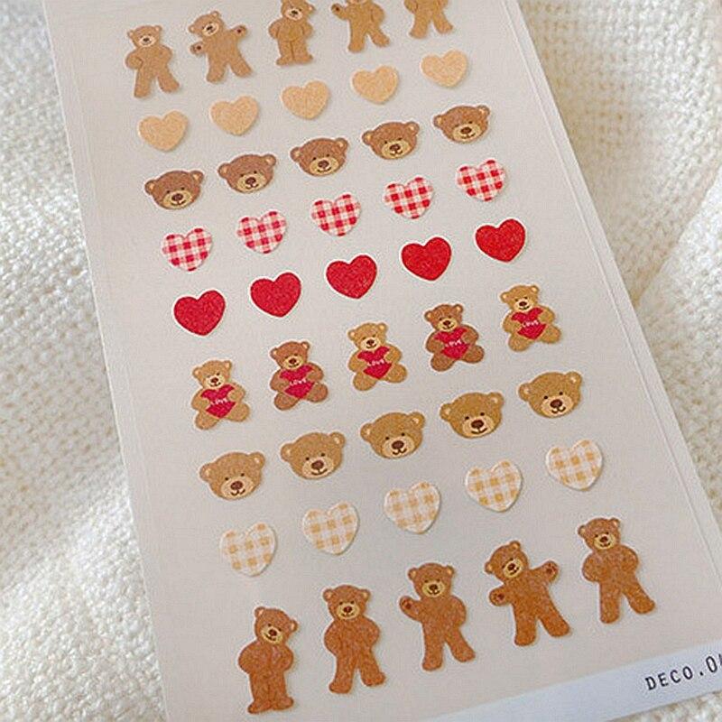 Прекрасный мини игрушка медведь наклейки из Кореи Kawaii Скрапбукинг Фотоальбом ручной учетной записи украшения стикер для канцелярских това...
