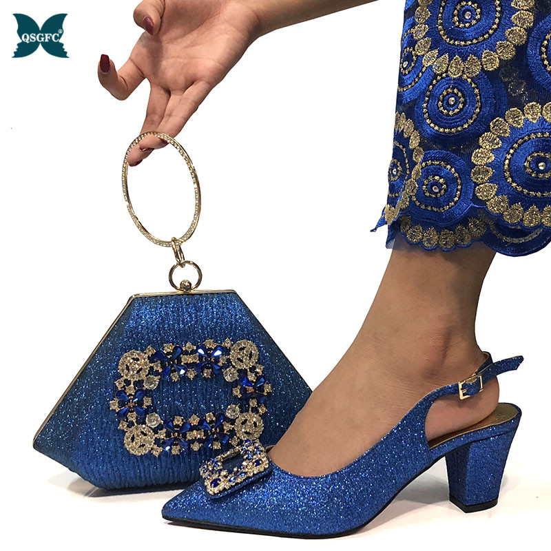 Latest Blue Shoes and Bags Set African Sets 2020 Italian design Shoes and Matching Bags Italian Women Rhinestone Wedding Shoes