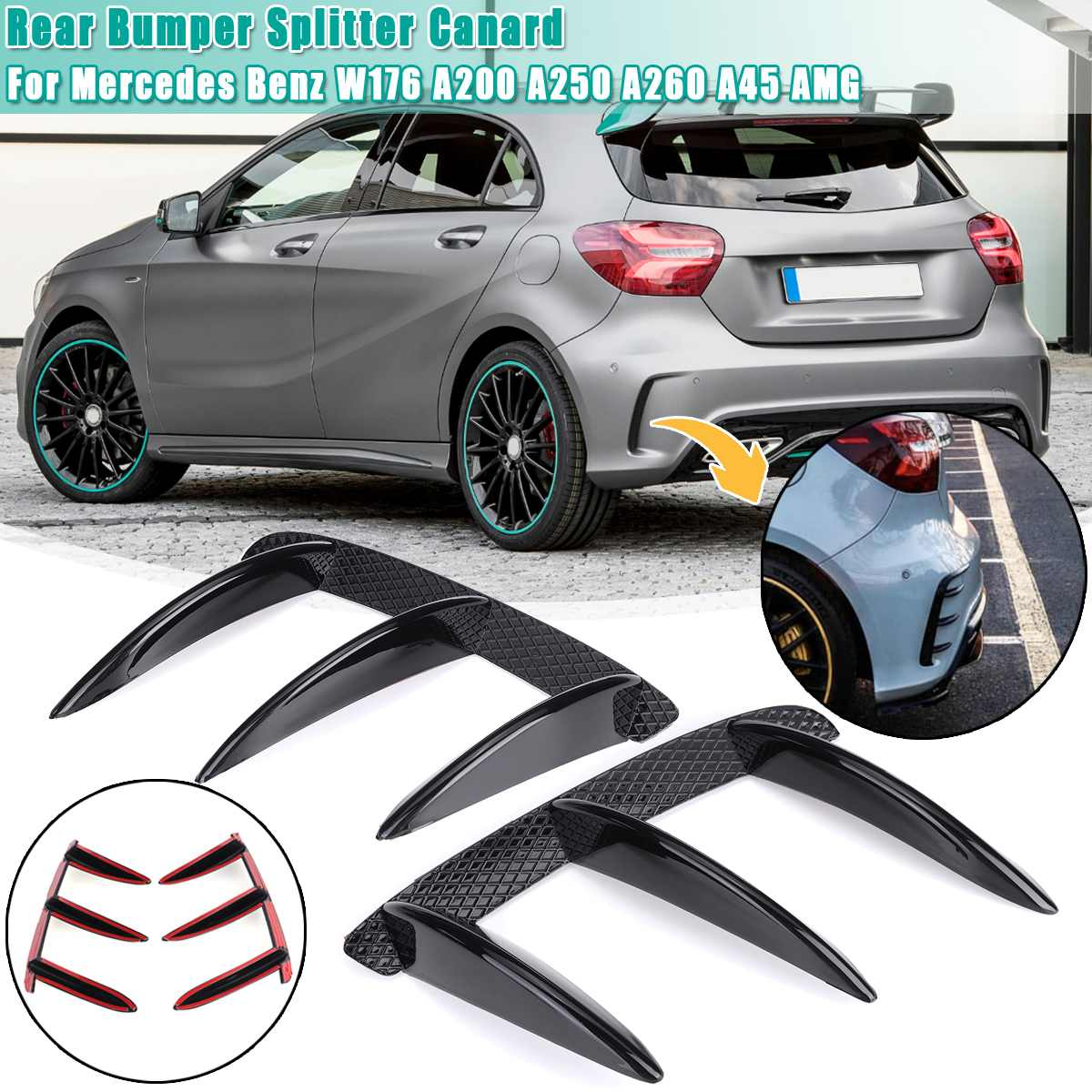 Car ABS Black Rear Bumper Spoiler Canards For <font><b>Mercedes</b></font> for <font><b>Benz</b></font> <font><b>W176</b></font> <font><b>A200</b></font> A250 A260 A45 for AMG 2PCS Replacement accessories image
