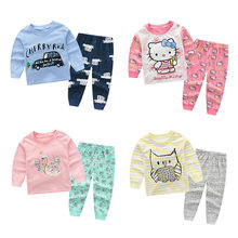 Pijama Cartoon Sleepwear Autumn Boys Clothes Baby Girl Kids Pyjamas Fashion Pijama fille infantil menino Set Haine Copii pjs(China)