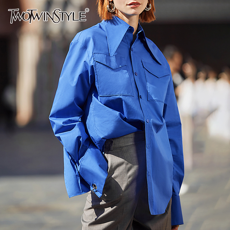 TWOTWINSTYLE Korean Women's Shirt Lapel Collar Long Sleeve Large Size Casual Vintage Blouse Female Fashion Clothing 2020 Tide