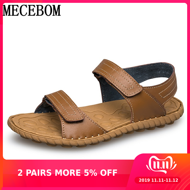 Summer Men Sandals Comfortable Genuine Leather Casual Shoes Hook-loop Super Light Men's Beach Sandals Gentleman Sanda 5005M