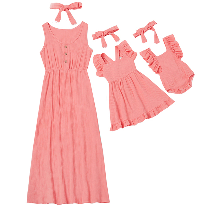 Family Look Summer Mommy And Me Family Matching Mother Daughter Dress Clothes Mom Dress Kids Child Outfits Mum Sister Baby Girls