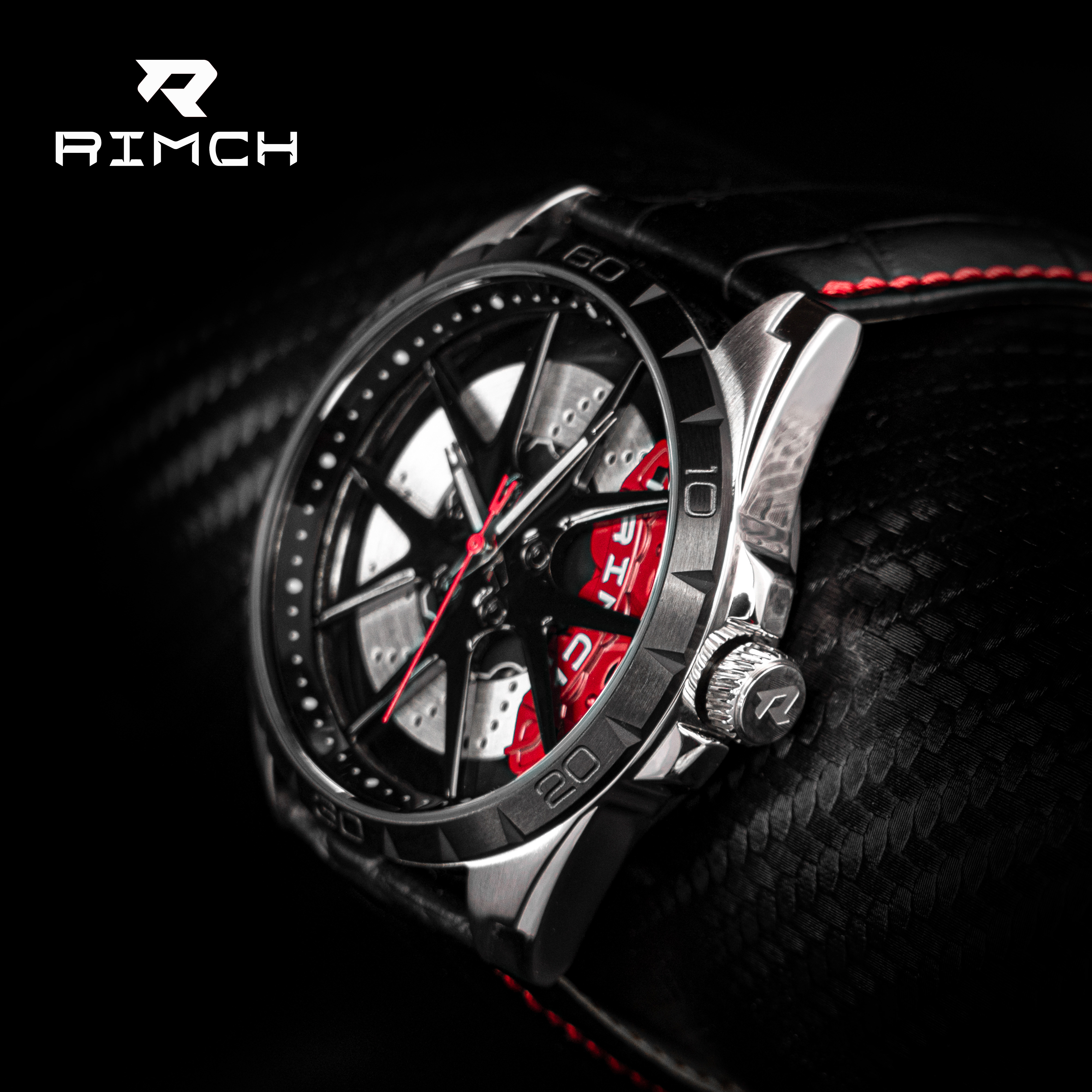 RIMCH Sport Watches for Men Luxury Leather Clock Fashion Cool Rims Design Waterproof 3D DR-CI wheels Watches