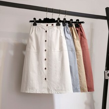 Skirt Fashion A-Line Single-Breasted Women Autumn  Skirts Casual Wild Slim High Waist Skirts недорого