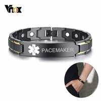 Vnox pacemaker masculino médica alerta id pulseiras preto de aço inoxidável alívio da dor energia lembrete emergência personalizado jóias