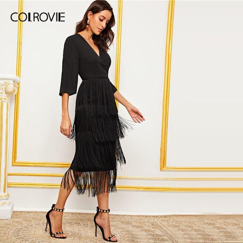 Image 4 - COLROVIE Black Surplice Neck Layered Fringe Trim Pencil Dress  Women V neck Long Dress 2019 Summer Glamorous Solid DressesDresses   -