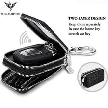 Fashion Genuine Leather Man Key Wallets luxury Crocodile Pattern Double Zipper Car Key Chain Wallet Car Key Holder Case bag цена 2017