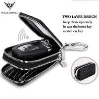 Fashion Genuine Leather Man Key Wallets luxury Crocodile Pattern Double Zipper Car Key Chain Wallet Car Key Holder Case bag